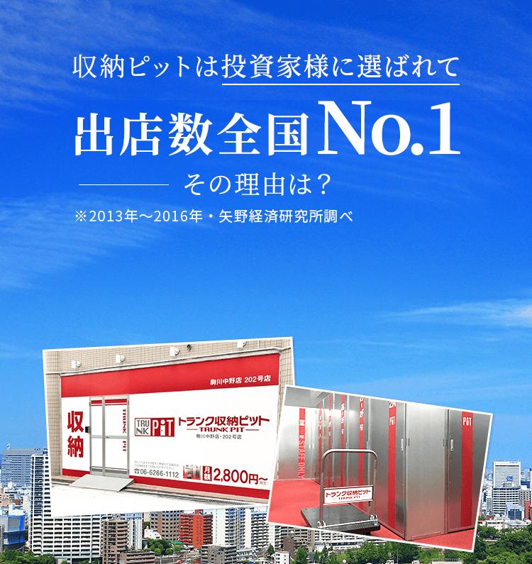 収納ピットは投資家様に選ばれて出店数全国No.1